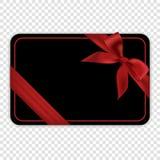 Pusty czarny prezent karty szablon z czerwonym łękiem Obraz Royalty Free