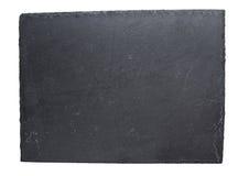 Pusty czerń łupku talerz odizolowywający na białym tle fotografia royalty free