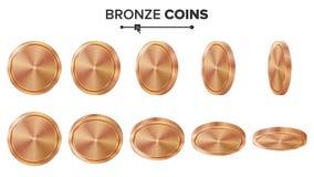 Pusty 3D brąz, Miedzianych monet pustego miejsca Wektorowy set Realistyczny szablon Trzepnięcie Różni kąty Inwestycja, sieć, gra  Zdjęcie Royalty Free