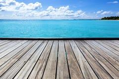 Pusty denny molo na tropikalnej wyspie Fotografia Royalty Free