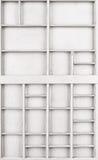 Pusty drewniany biel malował ziarna lub listy lub collectibles boksują obrazy stock