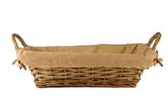 Pusty drewniany chlebowy kosz na białym tle Obrazy Royalty Free
