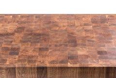 Pusty drewniany masarka stół odizolowywający na bielu Obraz Stock