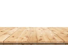 Pusty drewniany stół w słońcu dla produktu montażu lub plasowania Obrazy Royalty Free