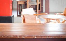 Pusty drewniany stół w sklep z kawą Zdjęcie Stock