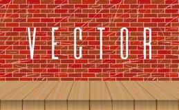 Pusty drewniany stołowy wierzchołek na ściana z cegieł tle Fotografia Royalty Free