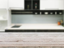 Pusty drewniany stołu i kuchni tło Zdjęcie Stock