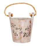Pusty drewniany wiadro lub drewniany flowerpot Obraz Royalty Free