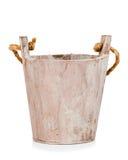 Pusty drewniany wiadro lub drewniany flowerpot Fotografia Royalty Free