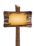Pusty drewniany znak z starym papierem Zdjęcie Royalty Free