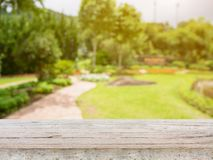 Pusty drewno stół z zamazanym ogródu parkiem Zdjęcie Stock