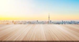 Pusty drewno stołu podłoga wierzchołek dla pokazu lub montażu produktu obraz royalty free