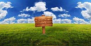 Pusty drewno znak na zielonej łące Obraz Stock