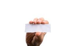 Pusty drzejący notepaper w ręce Fotografia Royalty Free