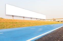 Pusty duży billboard z roweru pasem ruchu w rocznika brzmieniu Obraz Stock