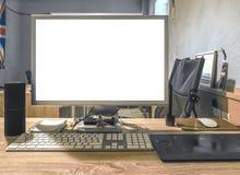 Pusty ekran nowożytny komputer stacjonarny obrazy stock