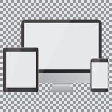 pusty ekran Set realistyczny monitor, pastylka i smartphone na przejrzystym tle, ilustracji