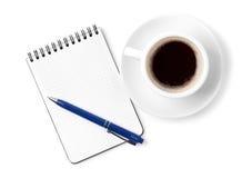 pusty filiżanki kawa espresso organizatora pióro zdjęcia royalty free