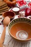 Pusty gliniany puchar dla barszczy Zdjęcie Royalty Free