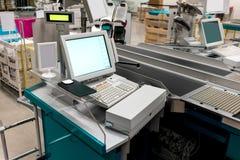 Pusty gotówkowy biurko z płatniczym terminal Zdjęcie Stock