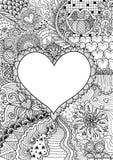 Pusty hearted kształt dla kopii przestrzeni otaczającej pięknymi kwiatami dla drukować, karty, zaproszenia, kolorystyki książki,  ilustracja wektor