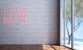 Pusty izbowy wewnętrznego projekta, ściana z cegieł tekstury tło i Obrazy Stock