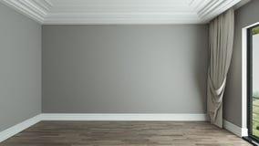 Pusty izbowy wewnętrzny tło z zasłoną ilustracja wektor