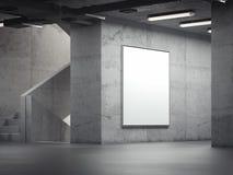 Pusty jaskrawy salowy billboard na popielatych ścianach, 3d rendering Fotografia Royalty Free