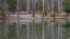 pusty jeziora ławki parku zdjęcie stock