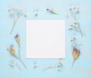 Pusty kartka z pozdrowieniami i suszy kwiaty obrazy stock