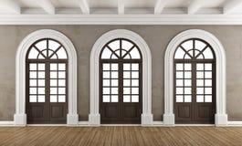 Pusty klasyczny wnętrze z balkonowymi okno ilustracji