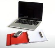 pusty laptopu notatnika telefon Zdjęcia Royalty Free