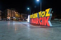 Pusty lata miasteczko Przy zimy nocą - Turcja Zdjęcia Royalty Free