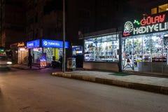 Pusty lata miasteczko Przy zimy nocą - Turcja Obraz Royalty Free