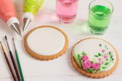 Pusty lodowacenia ciastko przygotowywający dla dekorować obrazy royalty free