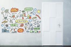 Pusty loft pokój z białą podłoga i siwieje ścianę z biznesowym sch Obrazy Stock