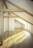 Pusty mansardowy pokój z okno Fotografia Royalty Free