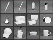 Pusty materiały ustawiający dla korporacyjnej tożsamości systemu na szarym backg Zdjęcie Royalty Free