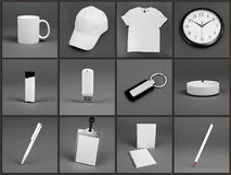 Pusty materiały ustawiający dla korporacyjnej tożsamości systemu na szarym backg Obraz Royalty Free