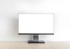 Pusty monitoru komputer osobisty na drewno stole Fotografia Stock