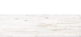 Pusty nieociosany biały drewniany stołowy wierzchołek zdjęcia stock