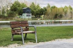 Pusty nieociosany drewniany karło plenerowy w parku odpoczywać Obraz Royalty Free