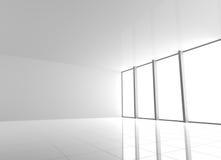 Pusty Nowożytny Biały wnętrze z Windows ilustracji