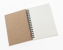 Pusty Nutowej książki egzamin próbny up na białym tle fotografia royalty free