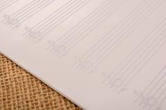 Pusty nutowy papier dla muzykalnych notatek Zdjęcia Royalty Free