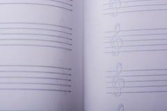 Pusty nutowy papier dla muzykalnych notatek Zdjęcia Stock