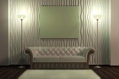 Pusty obrazek na rzemiennej kanapie w wnętrzu Zdjęcie Royalty Free