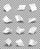 Pusty papier ciąć na arkusze na przejrzystej tło wektoru ilustraci ilustracja wektor