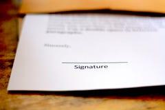 Pusty podpis na papierze Zdjęcia Royalty Free