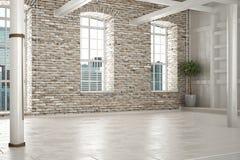 Pusty pokój biznes lub siedziba z ceglanym wnętrzem, obrazy stock